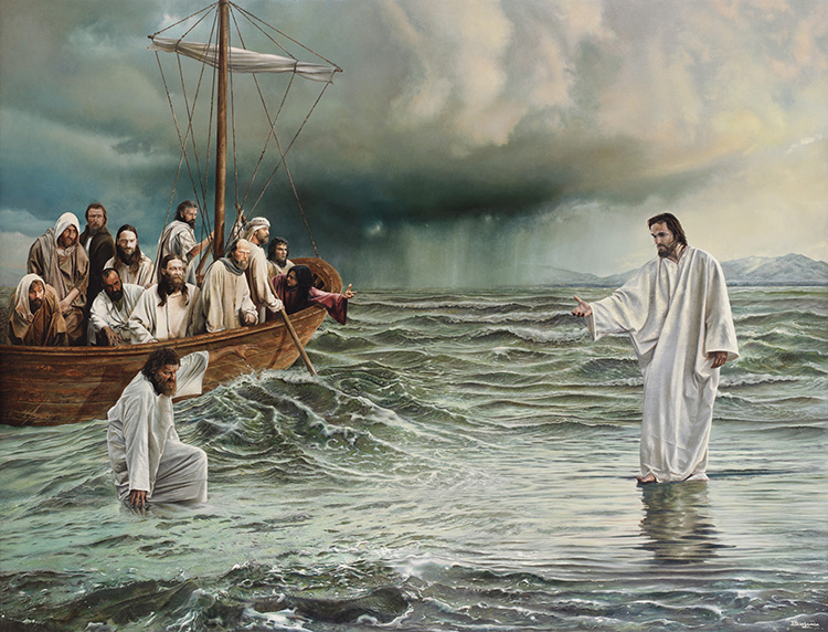 Jesus walking on the water, the impetuous Peter failing again