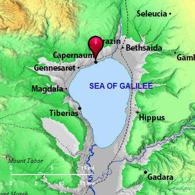 Map of Galilee with Capernaum